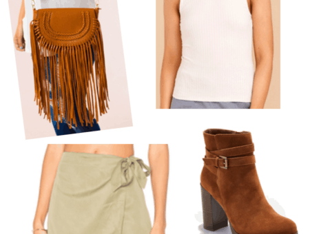 Fall trends: Fringe bag and wraps skirt. Outfit includes a light green wrap skirt, white turtleneck sleeveless top, fringe bag, brown suede ankle boots