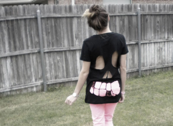 DIY skull cutout tee - finished product
