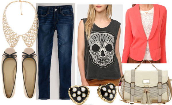 How to style a skull print top for day with coral blazer dark skinny jeans white shoulder bag gold collar necklace nude flats polka dot heart earrings