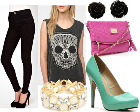 How to style a skull top for night with black skinny jeans turquouse pumps fuchsia bag pearl bangle black floral studs