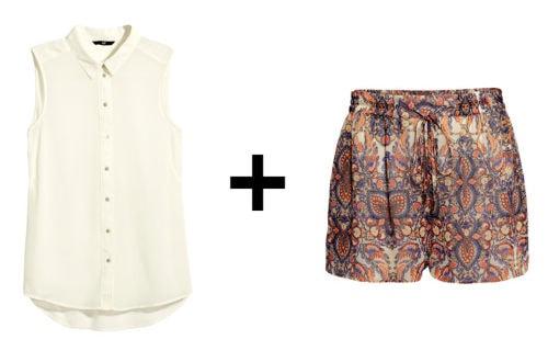 Sleeveless Blouse + Tie-Waist Shorts