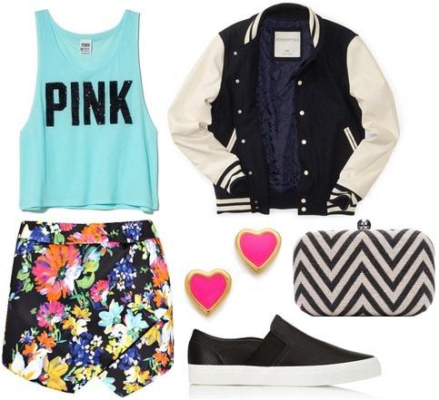 Slip on sneakers, floral skort, cropped tank, varsity jacket