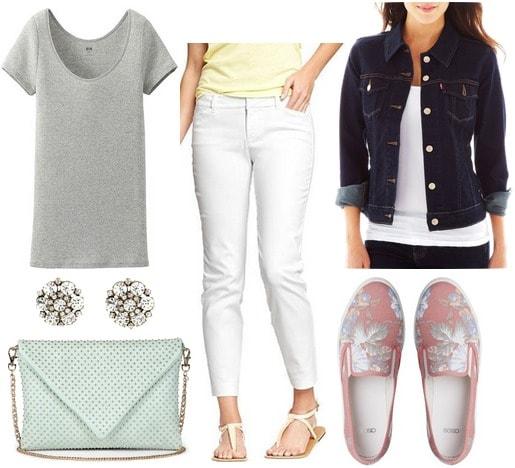 Slip on sneakers, gray tee, white trousers, denim jacket