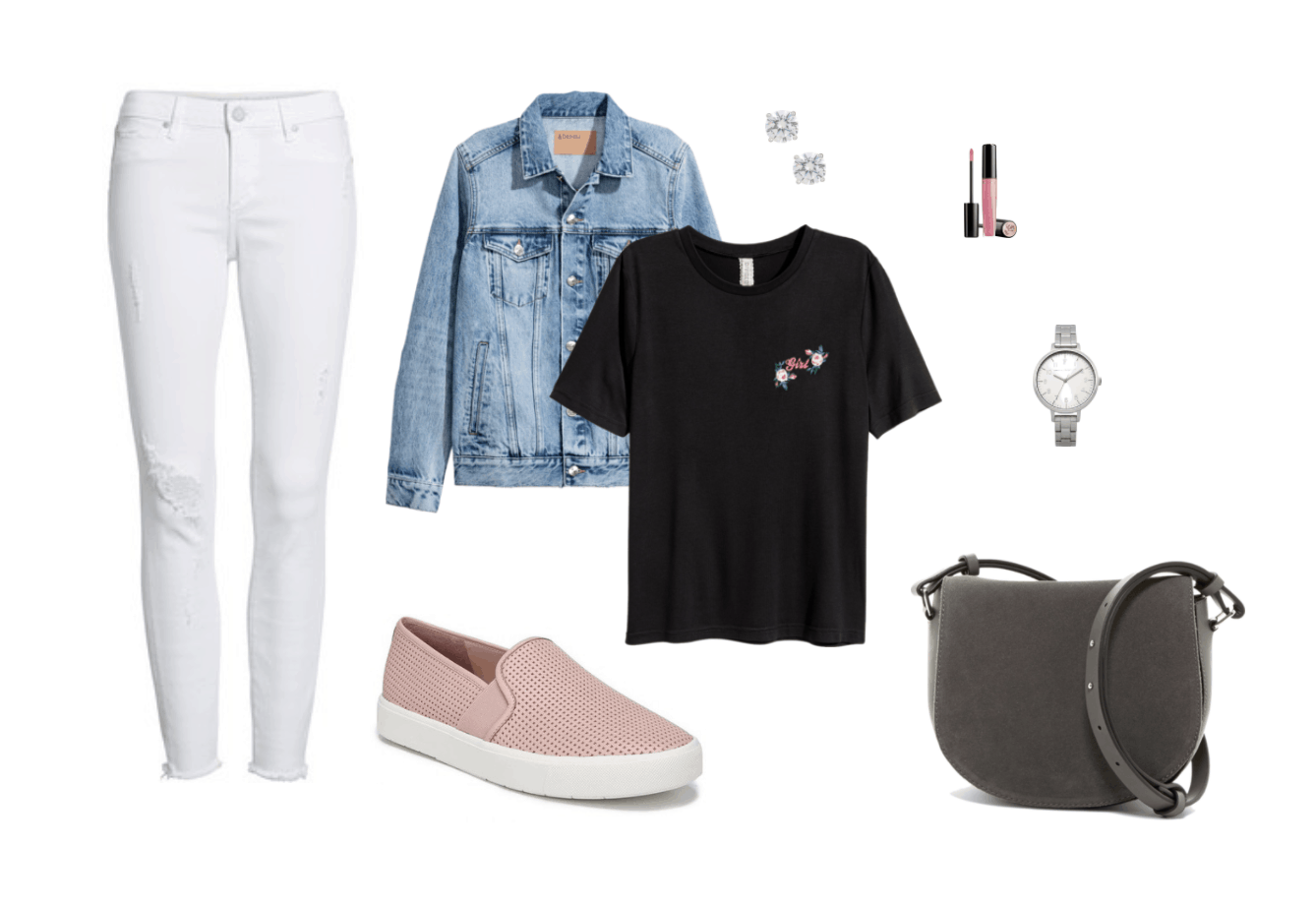 Slip-on sneakers outfit: Pink slip on sneakers, white skinny jeans, black tee shirt, denim jacket, earrings, gray crossbody bag