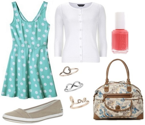 Slip on sneakers, polka dot dress, cardigan