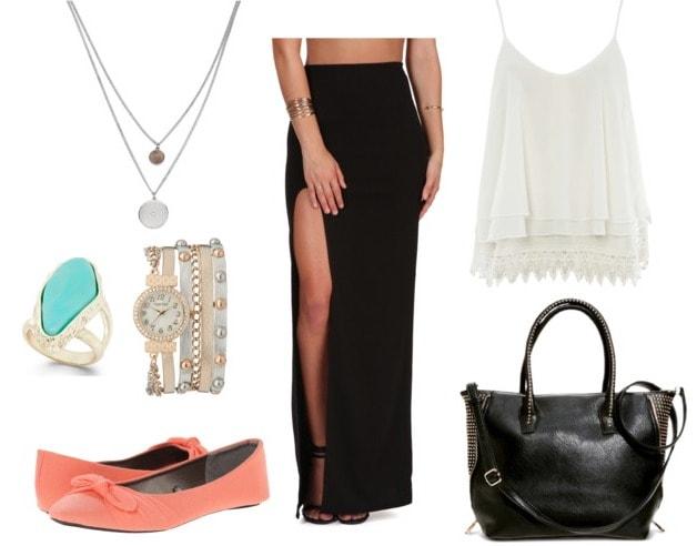 slit maxi skirt class outfit
