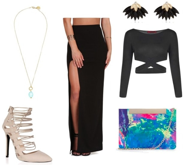 slit maxi skirt night out look
