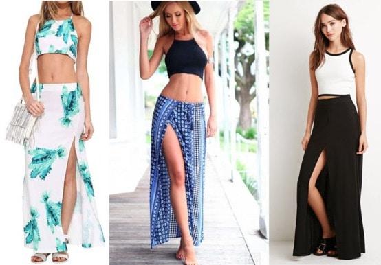 slit maxi skirt examples