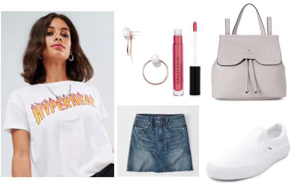 White T-shirt with flame lettering, paired with a denim skirt. Gold earrings with a pearl centered, to accessorize along with a leather gray backpack. Complete the look with a pair of white slip on sneakers and a nude lip.