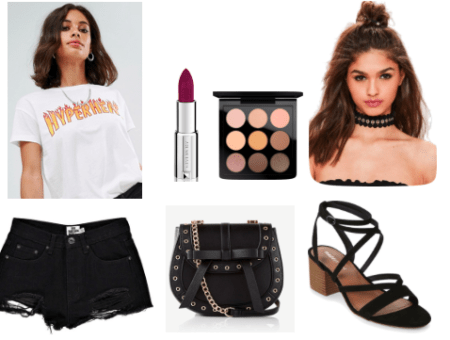 White T-shirt with a flame printed slogan. The T-shirt is paired with a pair of distressed denim black shorts. For shoes suede block sandal heels were chosen. The look is made complete by a black choker, cross body bag, a purple lip.
