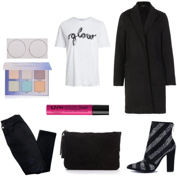 Slogan tee outfit: How to wear a graphic tee shirt with an oversized black coat, black jeans, a clutch bag, sparkly boots, and makeup for a night out