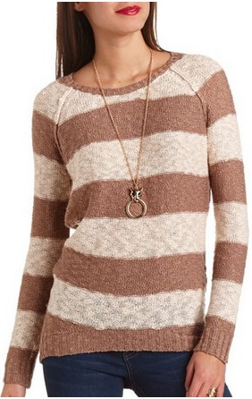 Slub striped hi lo sweater