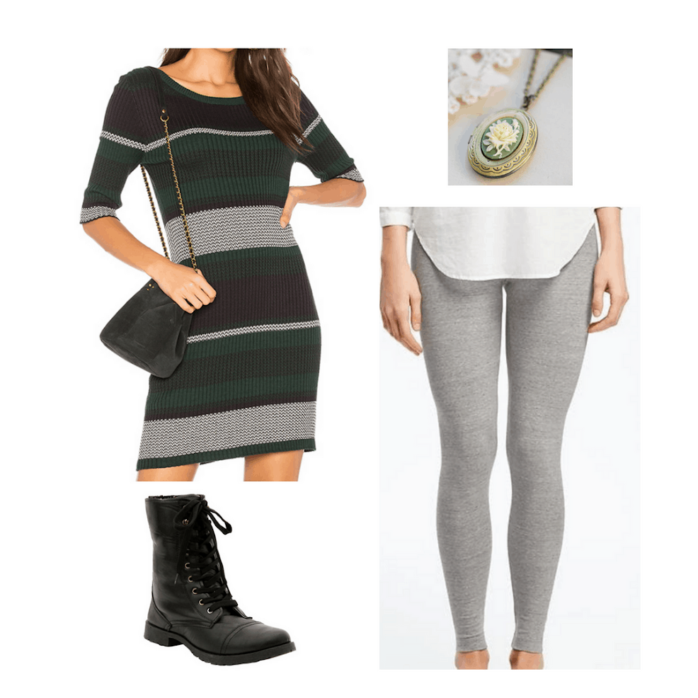 Hogwarts houses outfits from Harry Potter: Slytherin outfit with striped green and silver sweater dress, light gray leggings, locket necklace, and black combat boots