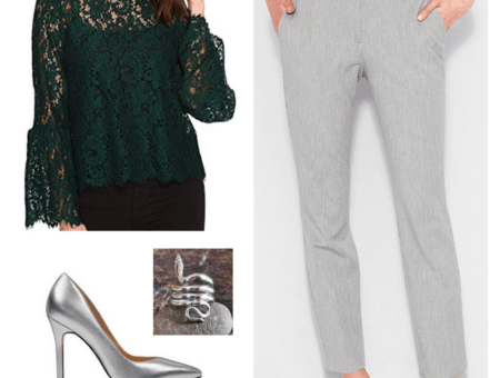 Fashion inspired by the Hogwarts houses from Harry Potter: Slytherin outfit with dark green lace top, gray dress pants, silver heels, and a snake ring