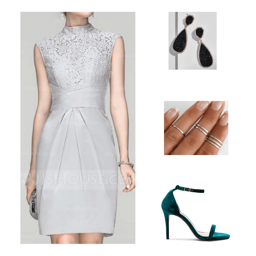 Fashion inspired by the Hogwarts houses from Harry Potter: Slytherin formal outfit with silver lace dress, black drop earrings, silver rings, and teal green heels