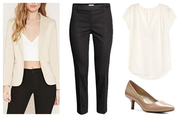 Smart beige blazer professional work outfit