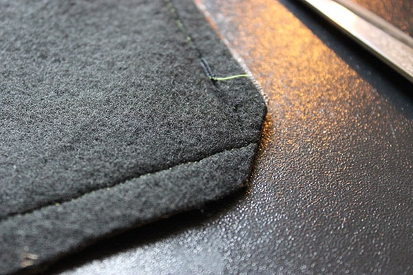 Snip edges after sew clutch