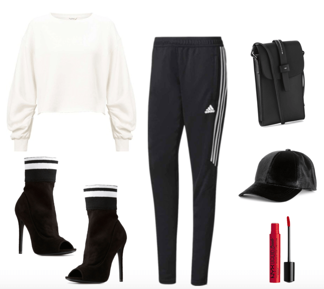 3rd sock boots outfit including black and white striped sock boots. Athleisure feel