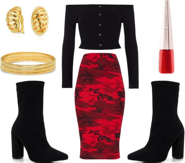 Class to night out set with black sock booties, red camo midi skirt, red lip paint, black off the shoulder buttoned crop top, gold bracelet, and gold studs.