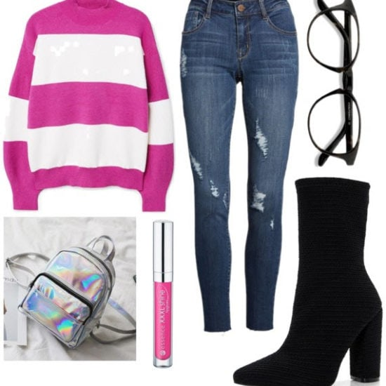 class to night out sock booties with black glasses, denim jeans, pink and white striped sweater, silver holographic backpack, and pink lipgloss.