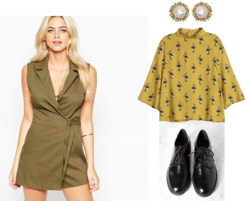 Outfit inspired by Solange: Army green dress, patterned top, ankle boots