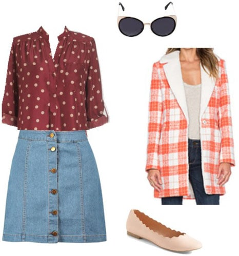 Outfit inspired by Solange: Denim skirt, patterned jacket, burgundy blouse, nude flats, sunglasses