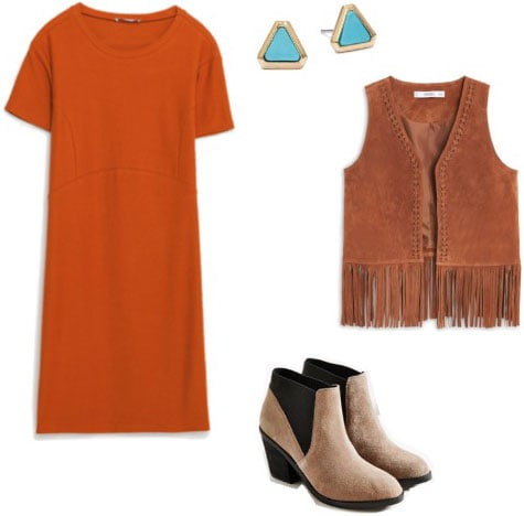Outfit inspired by Solange: Orange tee shirt dress, fringe vest, suede ankle booties, turquoise earrings