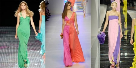 Solid Long Dresses and Colorblocked Maxi Dresses by Versace, Emilio Pucci, and Valentino on the Spring 2008 Ready To Wear Runways