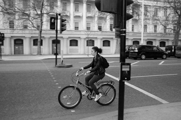 Solo city bike riding