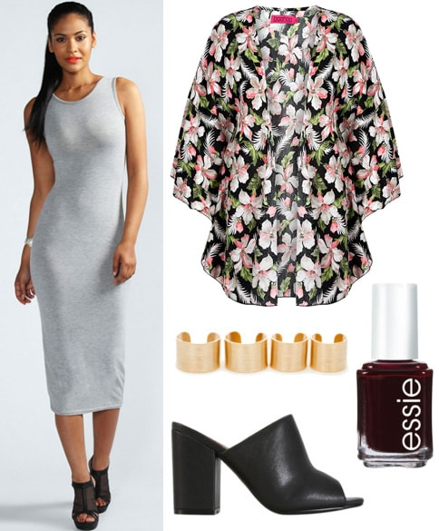 Outfit inspired by Sophia Amoruso -gray midi dress, kimono, slides, dark polish