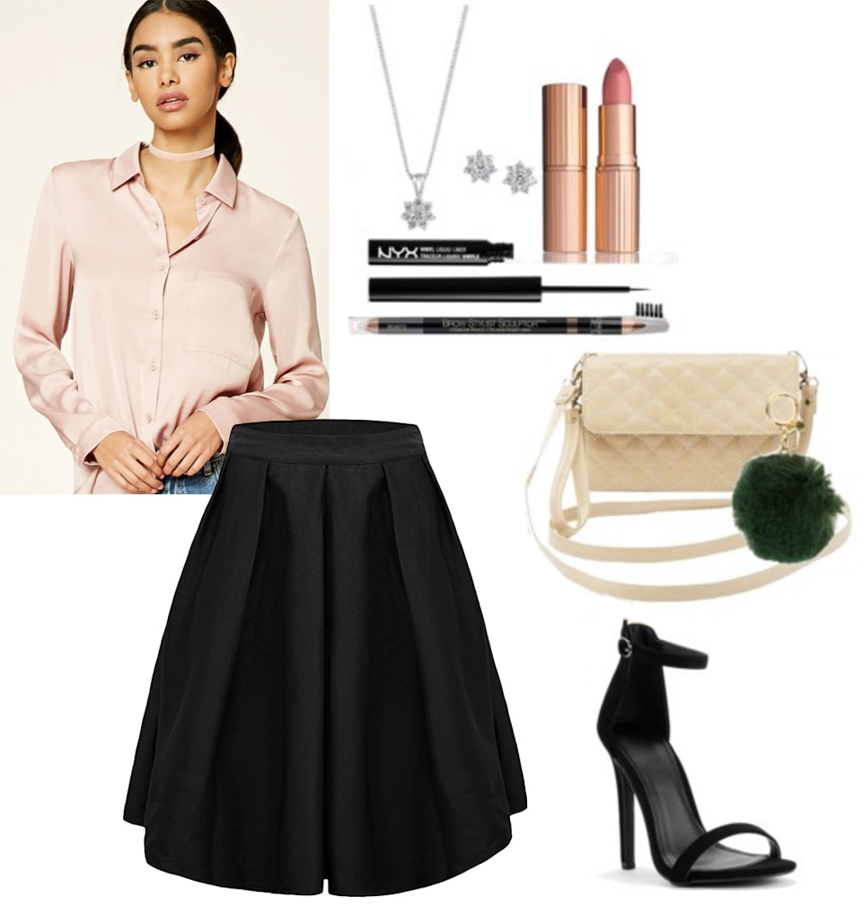 Date night outfit inspired by Sophia Loren's style: Midi skirt, pink wrap blouse, strappy heels, dramatic makeup, jewels
