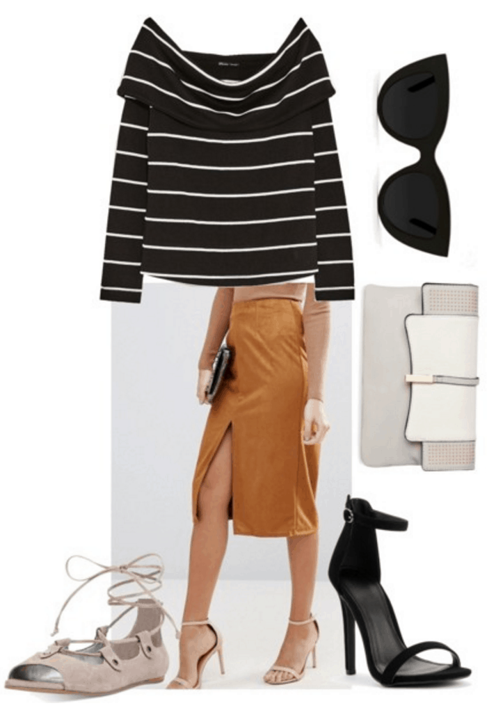 Striped sweater with suede skirt.