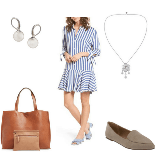 Sophisticated finals outfit with shirtdress, necklace, loafers, tote bag, and pearl earrings
