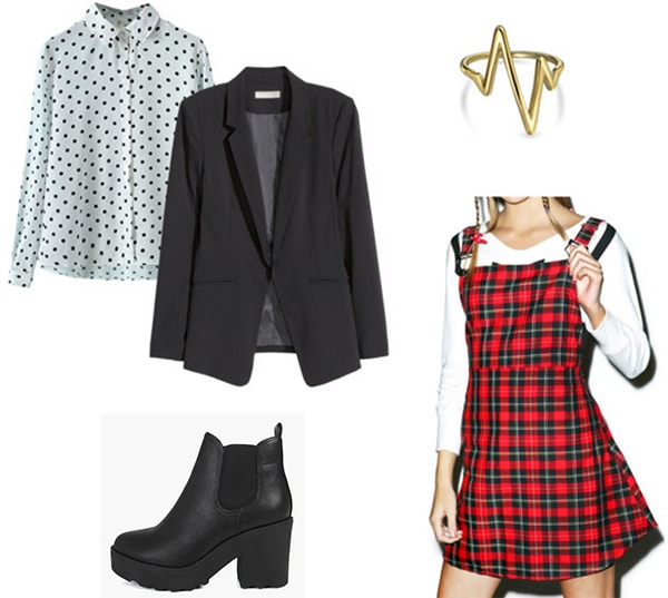 Outfit inspired by soul eater - how to wear a plaid dress, polka dot shirt, blazer, and chunky ankle boots