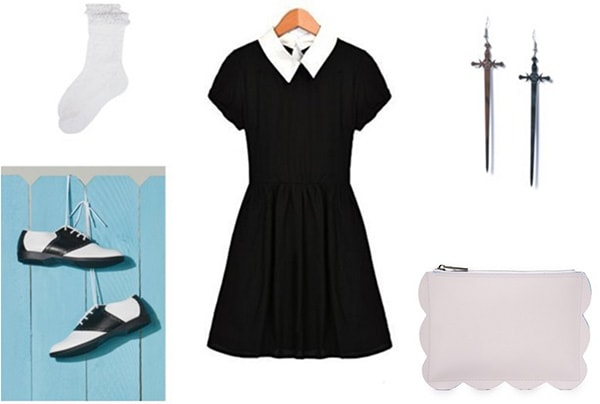 Soul Eater anime fashion outfit - Black dress with collar, saddle shoes, lilac clutch, frilly socks