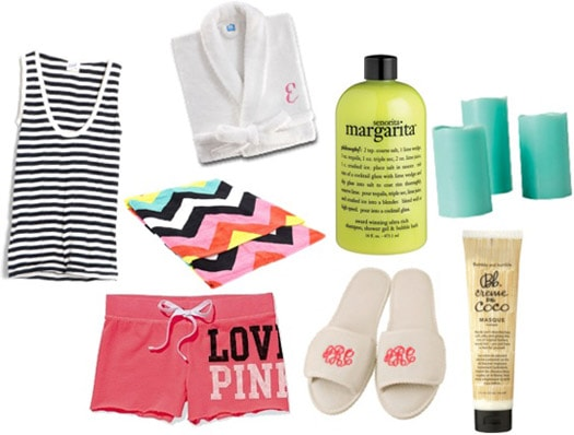 At-home Spa Essentials: Robe, comfy clothes, slippers, beauty products, candles