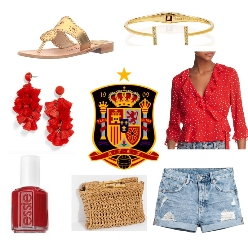 Fifa World Cup fashion - outfit inspired by Spain with red ruffle blouse, ripped denim shorts, gold sandals, tassel earrings, gold bangle, red nail polish, woven crossbody bag