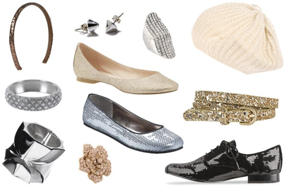 Sparkle accessories - sequined and glitter flats, hats, headbands, and rings