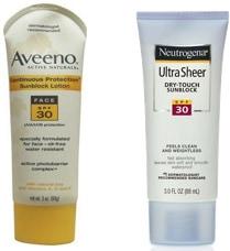 SPF 30 Sunblocks - Aveeno SPF 30 for Face and Neutrogena Ultra Sheer Dry Touch Sunblock SPF 30