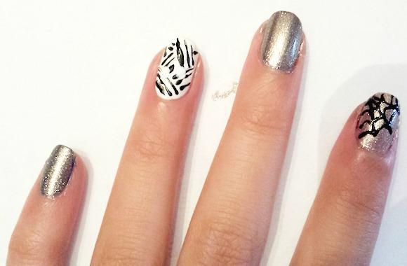 Spiderweb & mummy nail art step 3
