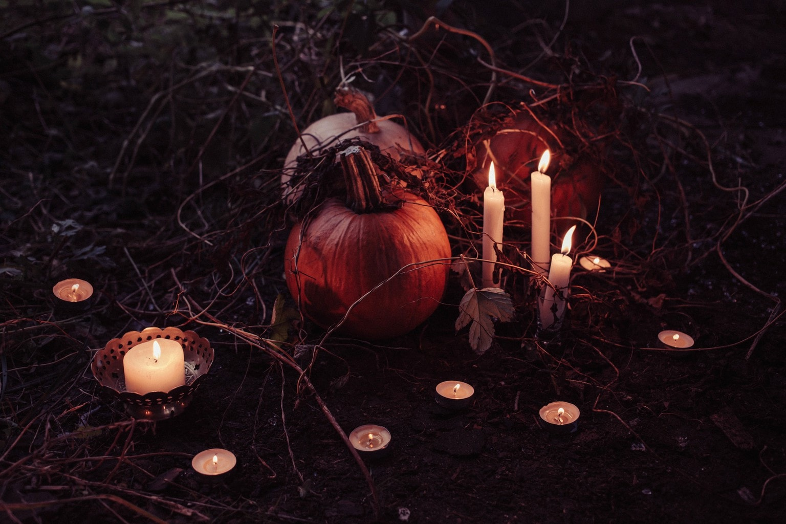 Spooky Candles and Pumpkins