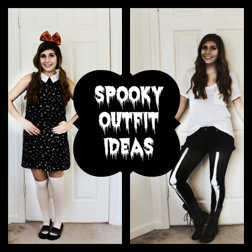 Spooky outfit ideas header doll skeleton