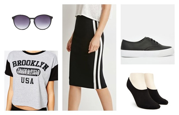 Sporty black midi skirt with sneakers outfit