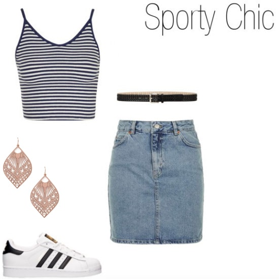 How to wear adidas with a denim skirt and striped top