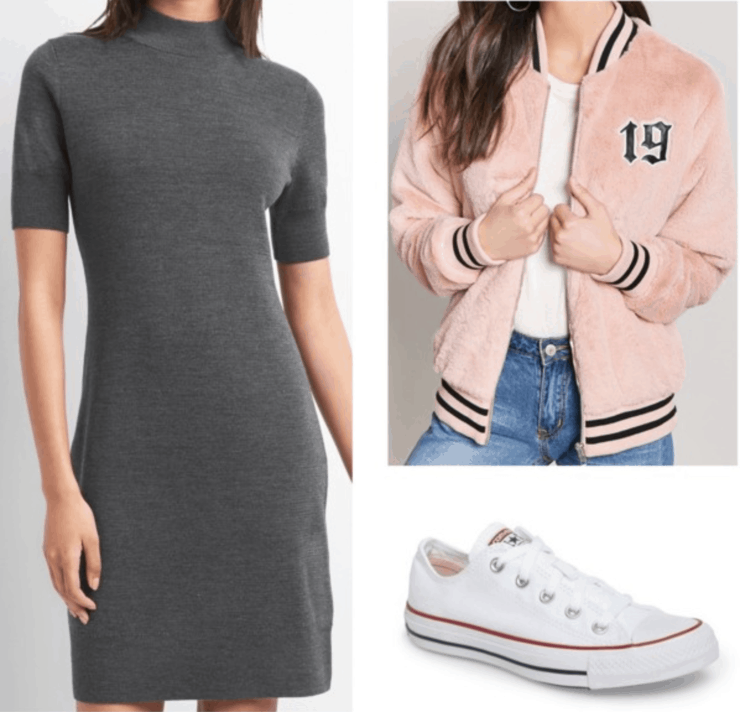 gray dress varsity bomber jacket white converses