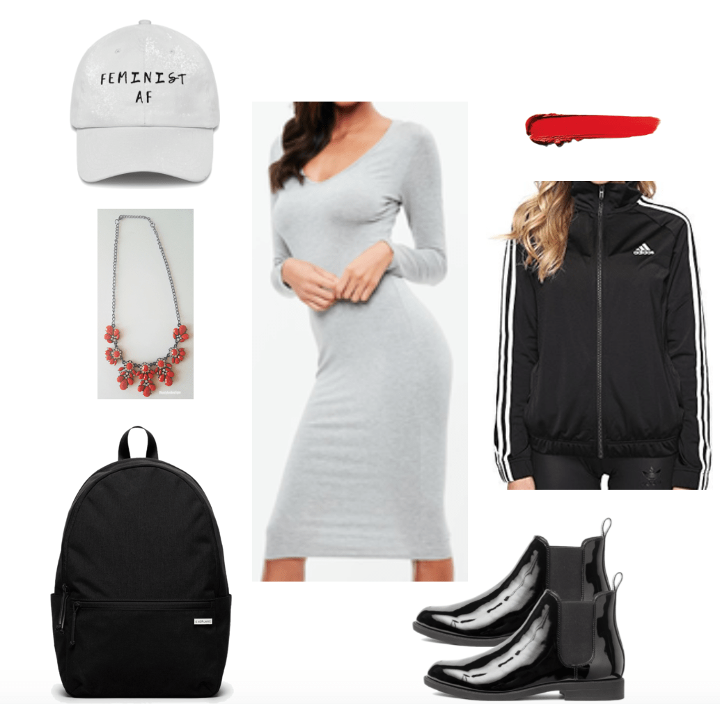 Sporty midi dress look (athleisure).