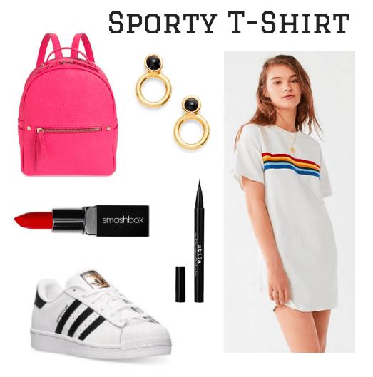 backpack, lipstick, sneaker, earrings, eyeliner, t-shirt dress