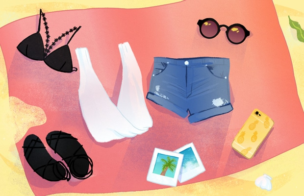 Beach flat lay illustration by Stacey Abidi