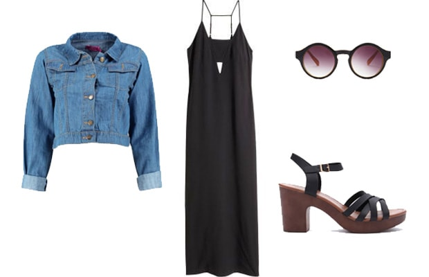 Black cutout dress with sandals spring outfit