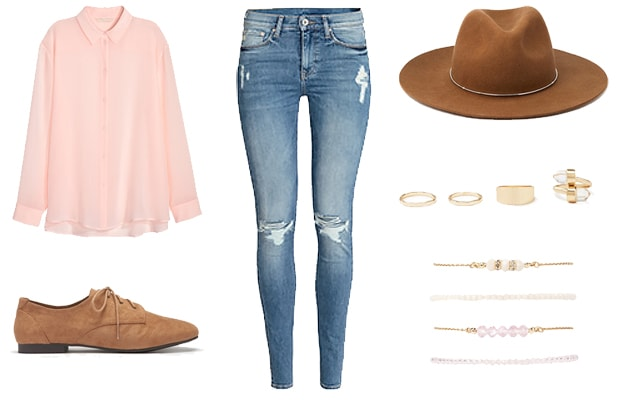 Spring pink blouse and jeans outfit
